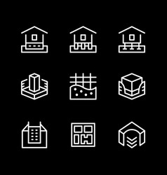 set line icons of house foundation vector image