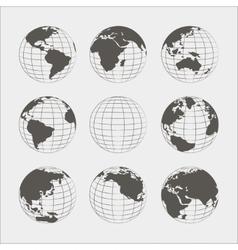 Set of nine globes vector image
