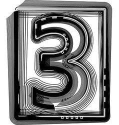 Striped font NUMBER 3 vector image