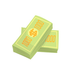 Us dollars banknotes money stack colorful cartoon vector