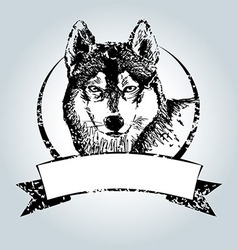 Vintage label with Husky head vector image