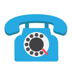 Vintage phone flat icon contact us and website vector