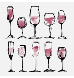 Wine glass set - collection sketched watercolor vector