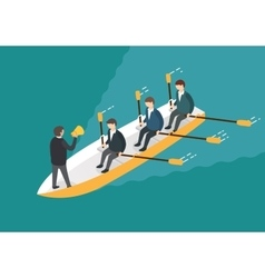 Businessman rowing team teamwork concept vector