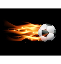 Flaming soccer ball on black background vector