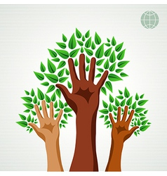 Diversity hands green concept tree vector