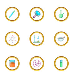 Chemical equipment icons set cartoon style vector