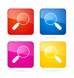 3d blue red yellow and pink magnifying glass vector