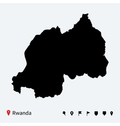 High detailed map of rwanda with navigation pins vector