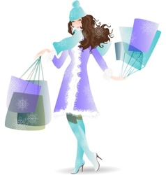 Shopping day girl in winter vector