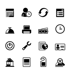 Silhouette reservation and hotel icons vector