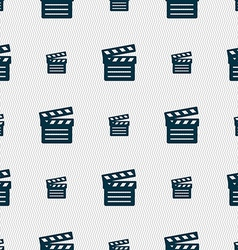 Cinema clapper icon sign seamless pattern with vector