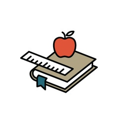 Books and apple vector