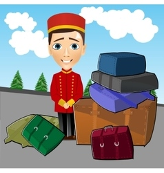 Bellboy standing near luggage vector