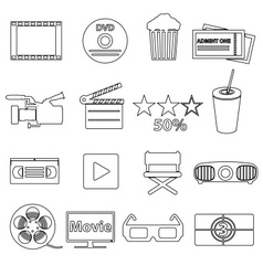 Movie and cinema simple outline icons set eps10 vector