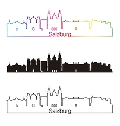 Salzburg skyline linear style with rainbow vector