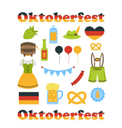 Oktoberfest colorful symbols isolated vector
