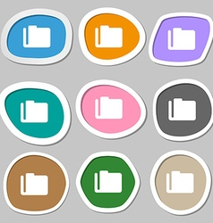 Document folder icon symbols multicolored paper vector