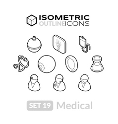 Isometric outline icons set 19 vector image