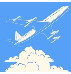 Passenger airplane in the clouds retro background vector