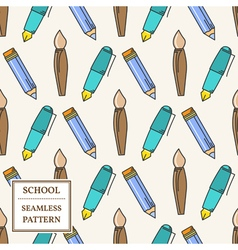 Seamless school or office supplies pattern thin li vector