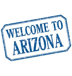Arizona - welcome blue vintage isolated label vector