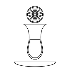 Turkish tea with lemon icon outline style vector