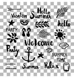 Set of summer sign and symbol brush stroke stains vector