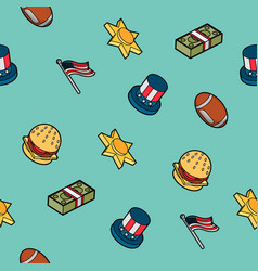 America color outline isometric pattern vector