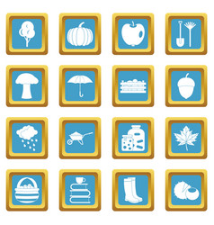 Autumn icons azure vector