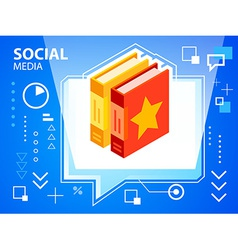 bright speech bubble and books on blue backg vector image