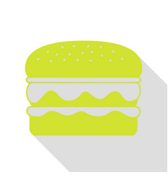 Burger simple sign pear icon with flat style vector