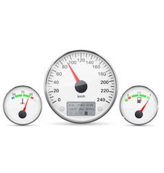 car dashboard gauges with metal frames vector image vector image