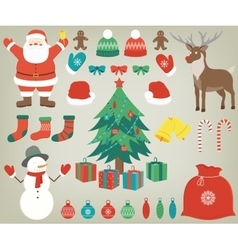 Christmas set with decoration elements Hand drawn vector image vector image