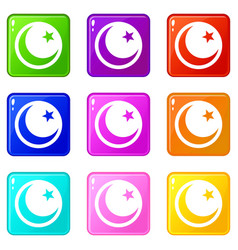 Crescent and star set 9 vector
