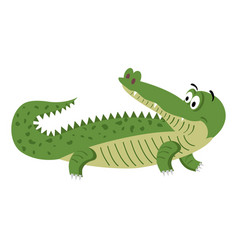 Cute cartoon crocodile in natural pose isolated vector