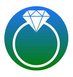 Diamond sign white icon in vector