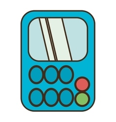 Drawing blue calculator class supplie school vector