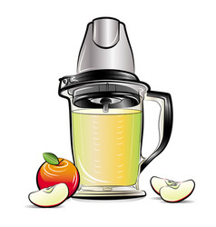 Drawing color kitchen blender with apple juice vector