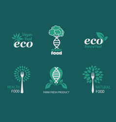 eco food icons vector image vector image
