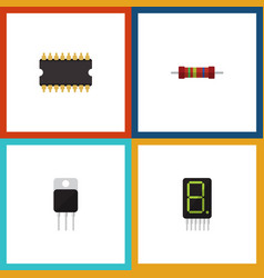 Flat icon electronics set of resistance receiver vector