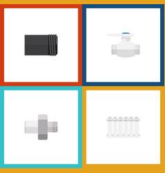 flat icon pipeline set of flange radiator tube vector image vector image