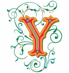 floral letter y vector image vector image