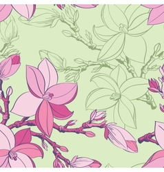 Floral seamless pattern with drawing magnolia vector image vector image
