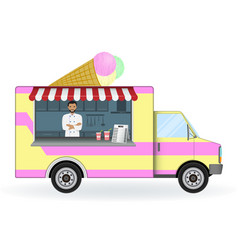 Ice cream car isolated on a white background vector
