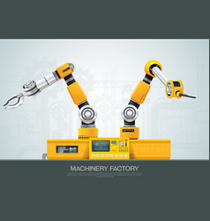 machine robotic robot arm hand factory vector image