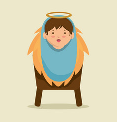 merry christmas baby jesus lying in a manger vector image