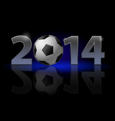 New year 2014 metal numerals with football vector