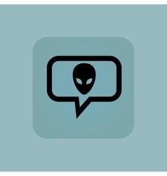 Pale blue alien message icon vector