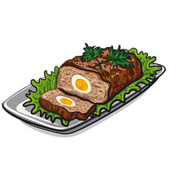 Prepared meat loaf vector